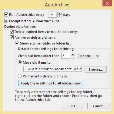 AutoArchive settings