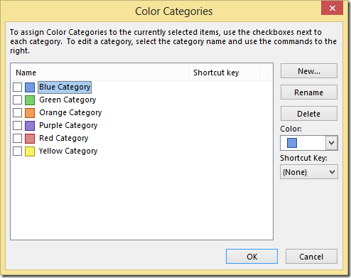 Outlook Color Categories