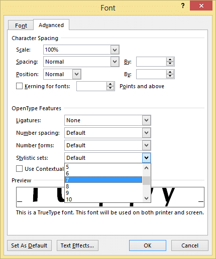 Advanced Font settings in Word
