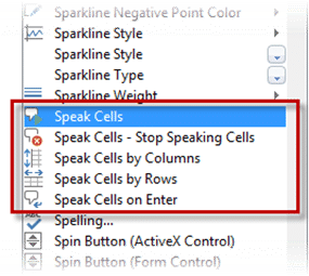 Excel speak cells