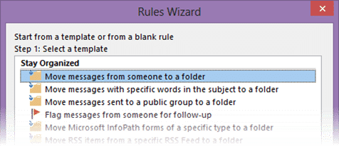 creating sender specific rules in Outlook