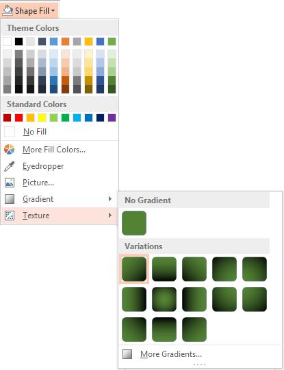 colour options for gradient