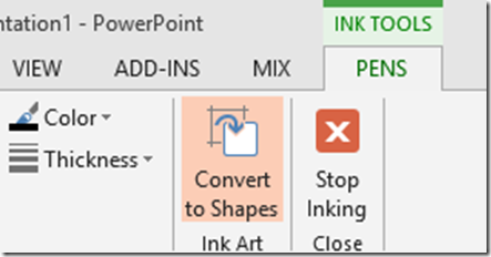 Ink tools convert to shapes