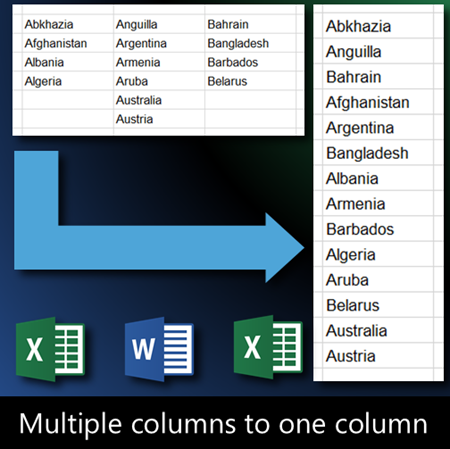 Excel data clean up - convert data from multiple columns to one column
