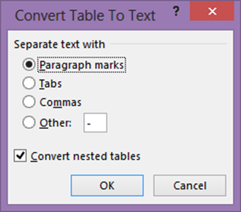Word - convert table to text