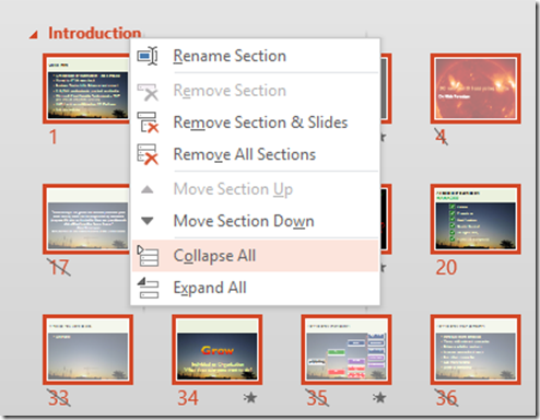 Collapsing or Expanding PowerPoint Sections