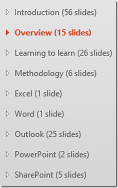 Collapsed PowerPoint Sections simplify rearranging the presentation