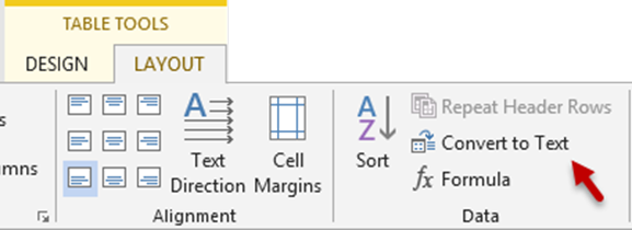 Word - table layout - convert to text