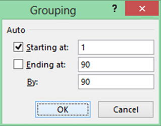 Excel number grouping