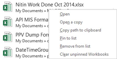 recent file list