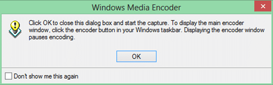 Windows Media Encoder start capturing