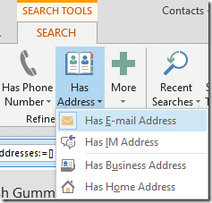 Outlook Search Tool has email address