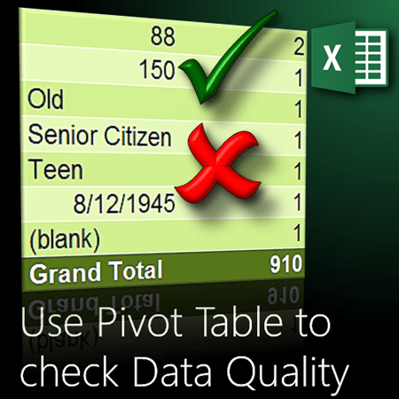 Use Pivot Table to check data quality