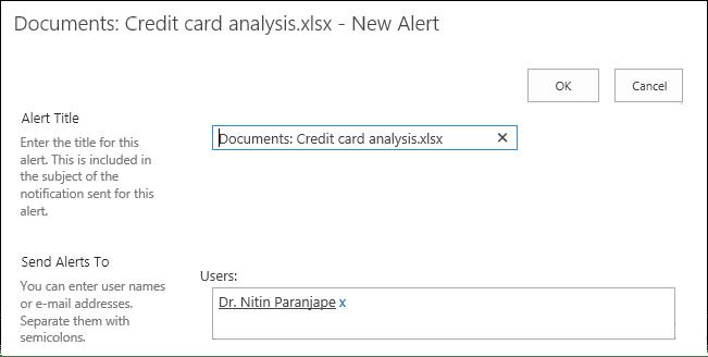 ODB document change alert settings