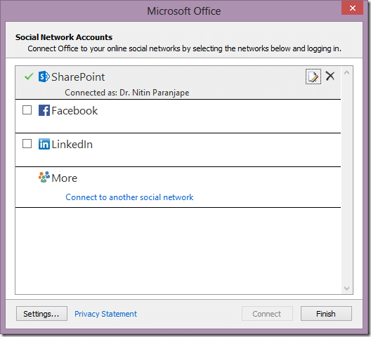 Outlook Social Network Account