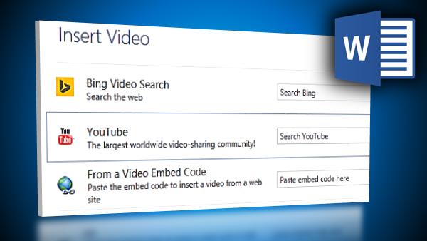 insert online video in Word