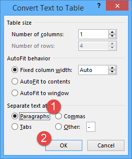 covert text to table