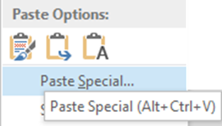 How to learn keyboard shortcuts - showing the tooltip of Paste Special button (Ctrl Alt V)