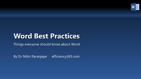 Word Best Practices