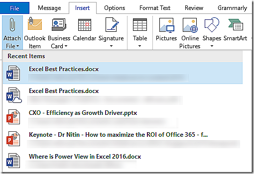 Insert Attachments - Recent files shown in Office 2016