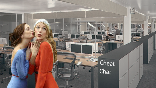 Office politics chat graphic showing two ladies in a large office space
