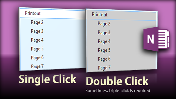 Double click to select all sub-pages in OneNote