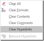 clear hyperlinks - remove all hyperlinks