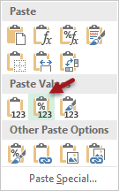 Right cliek menu for paste special values