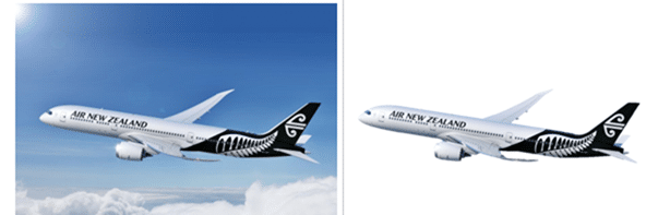 Plane with and without background