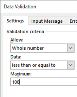 Data Validation - less than or equal to 100