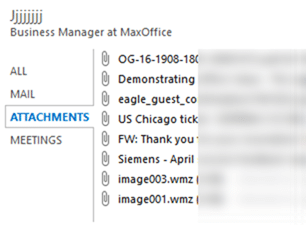 How to see all attachments sent by someone in Outlook People Pane