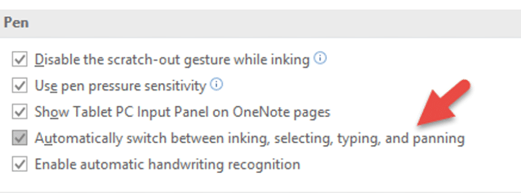 OneNote Pen options