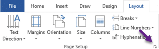 Page Setup launch button