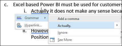 Word improved grammar check - solution