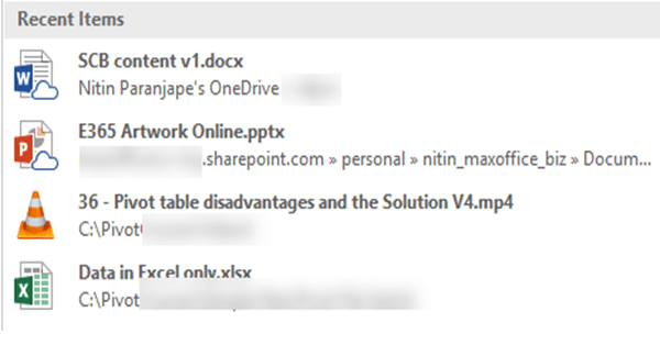 Outlook Attachments - Recent items