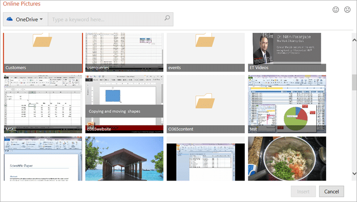 PowerPoint Online Pictures - from OneDrive