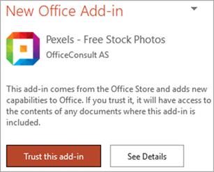 Pexels Add-in trust dialog