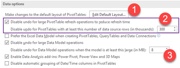 Excel Data Model usage options