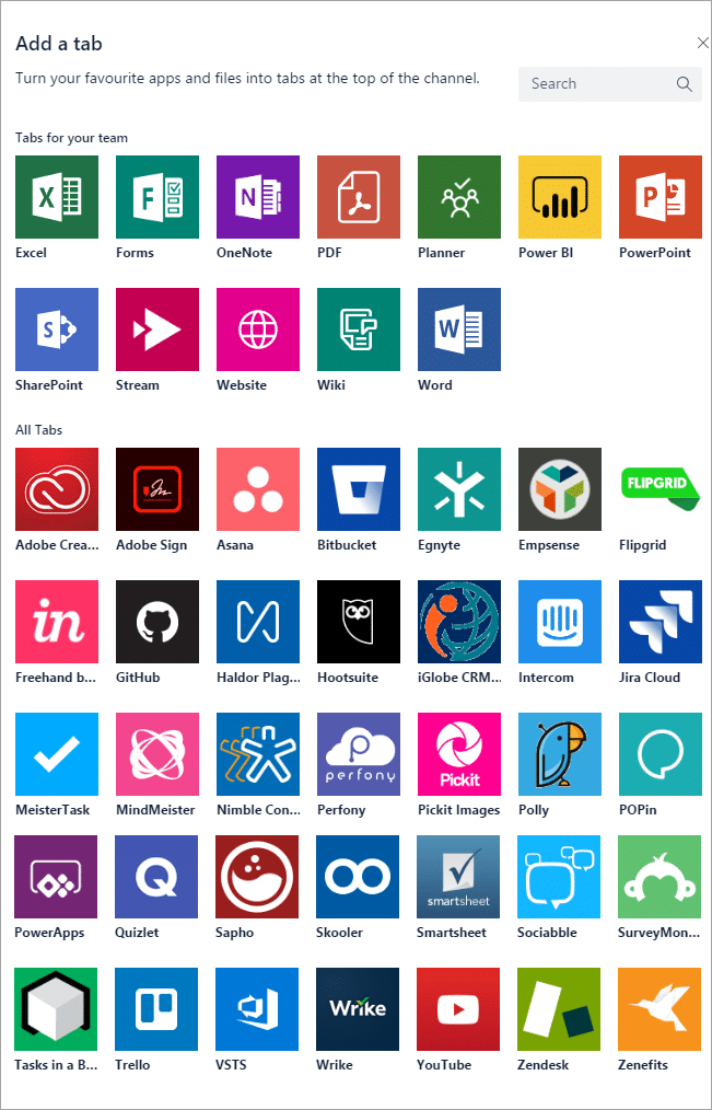 List of tab apps you can add to Teams