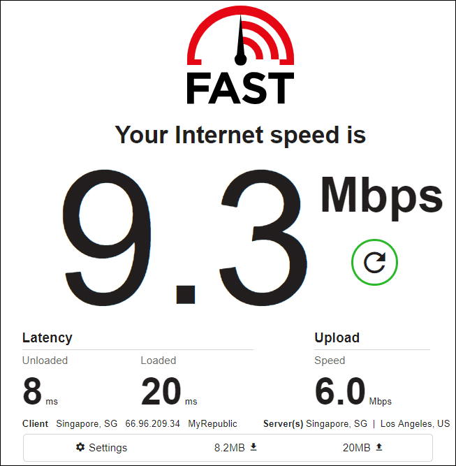 fast.com speed test results