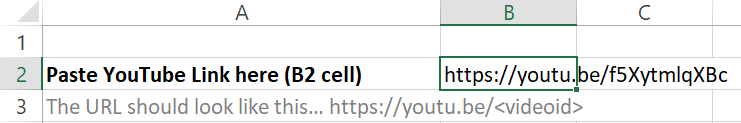 YouTube TOC Creator - URL paste area