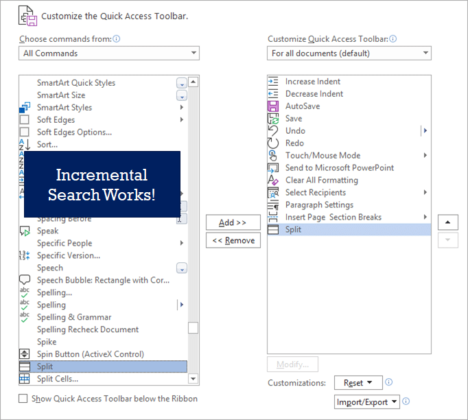 Incremental Search in QAT customization works.