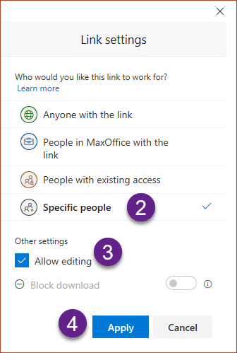 Share OneDrive Links - Choose Specific People
