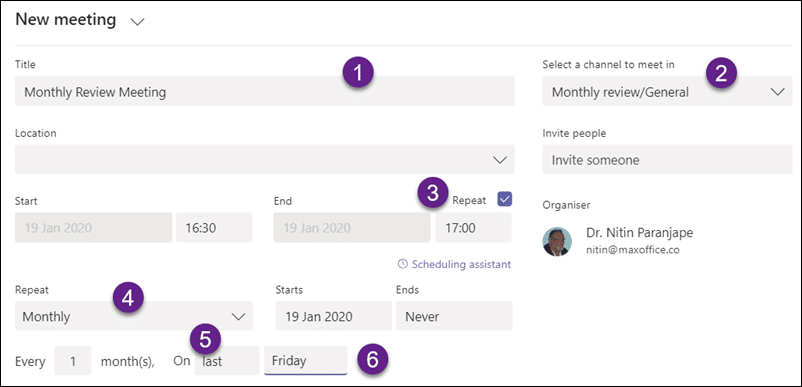 Monthly review using Teams - Recurring meeting creation dialog