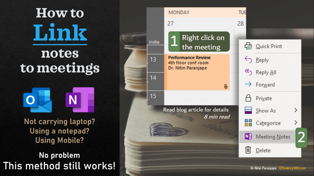 how to link notes to meetings - right click on meeting - meeting notes