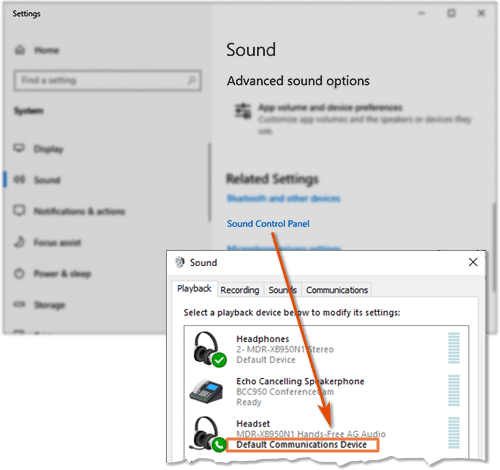 Default Communications Device in Windows Sound Control Panel
