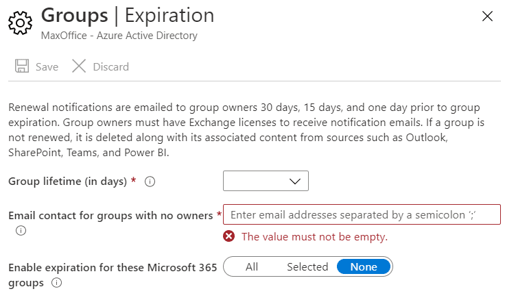 AD Group expiration policy