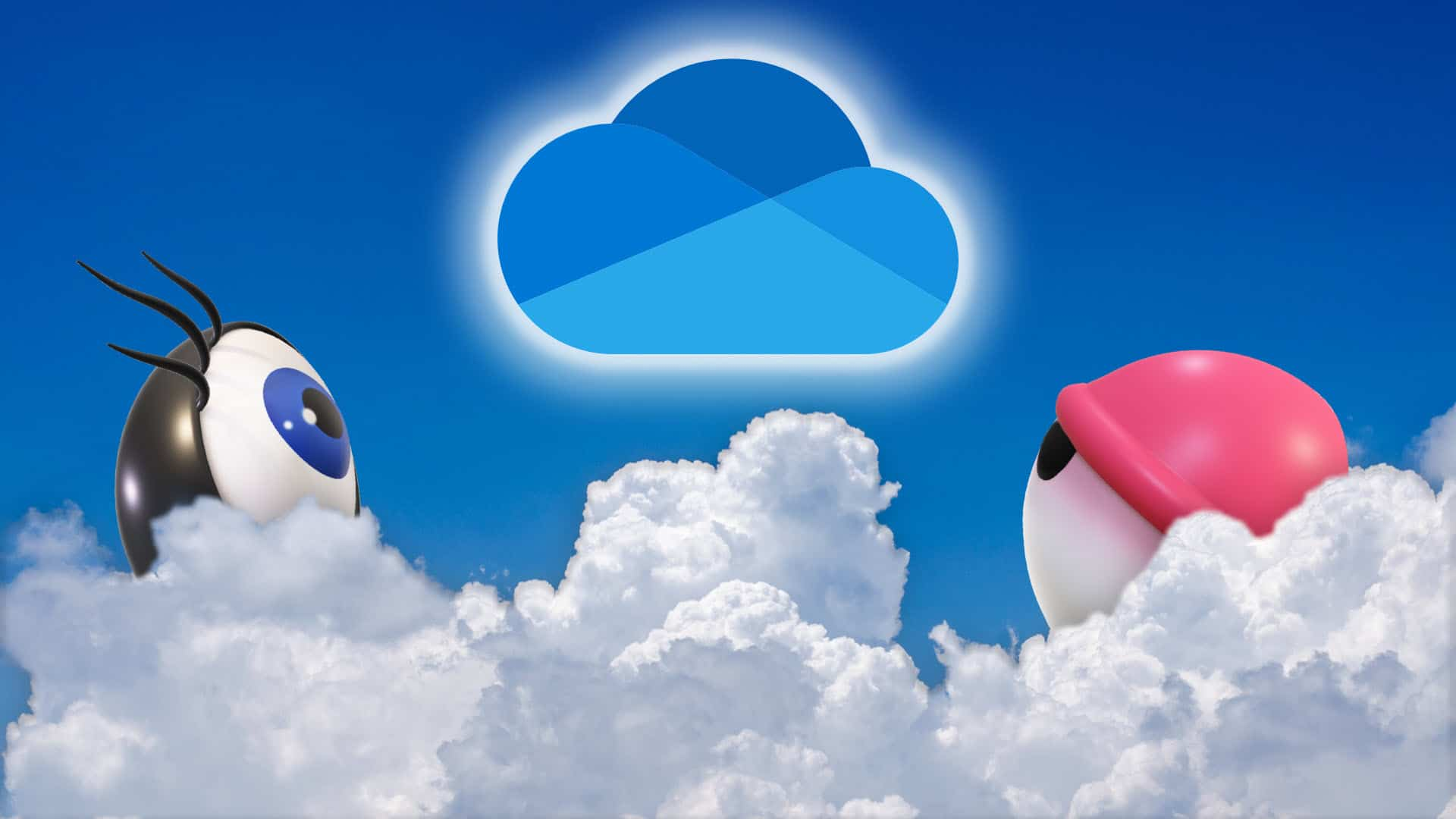 OneDrive who can see - showing OneDrive logo and two eyes peering from clouds