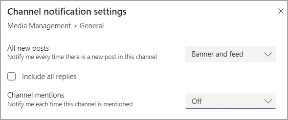 Channel notification settings