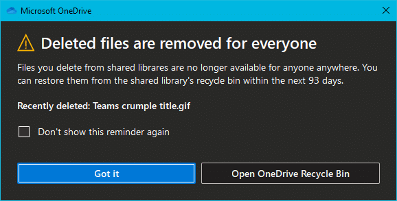 Shared synched file delete warning